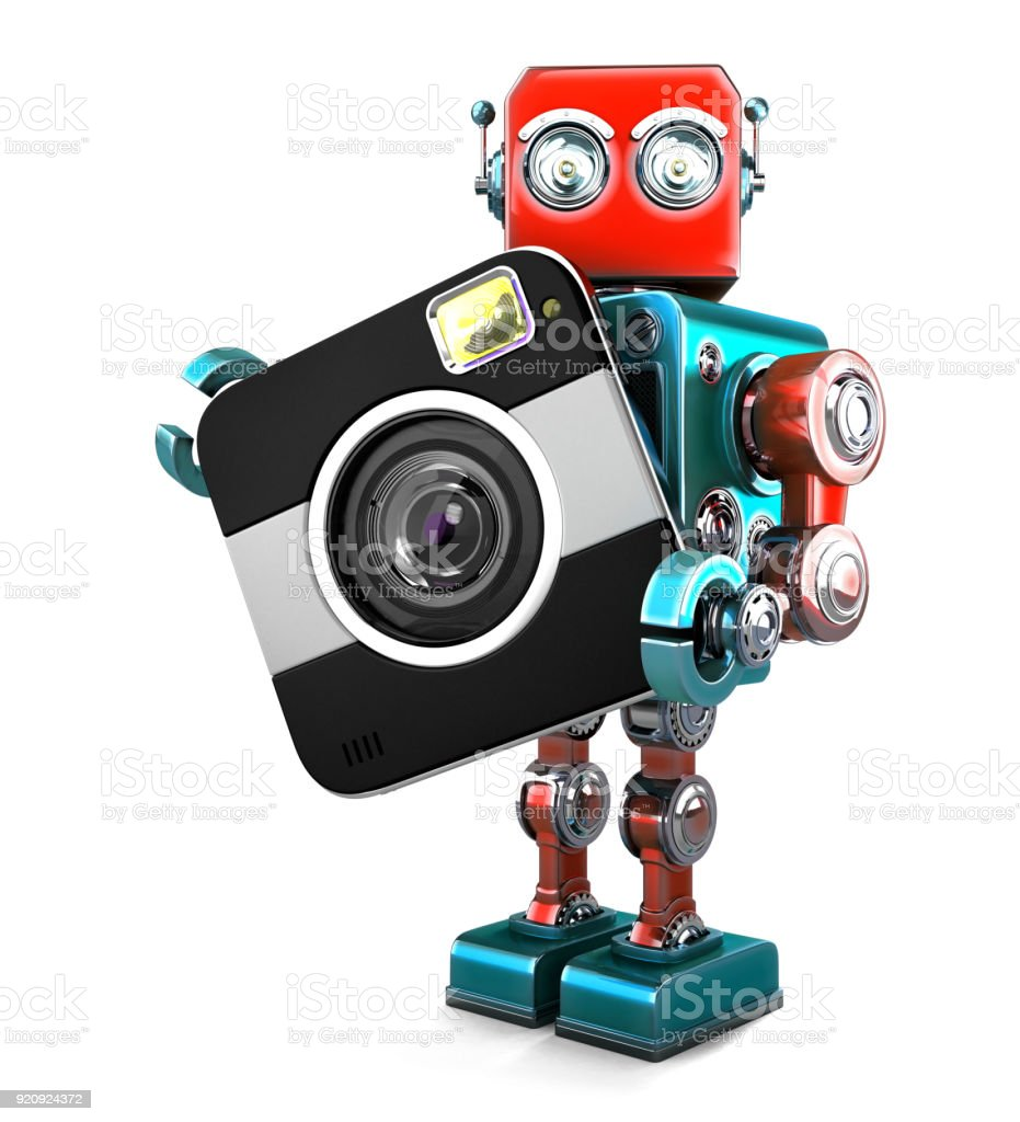 Retro robot with camera. Isolated. Contains clipping path stock photo