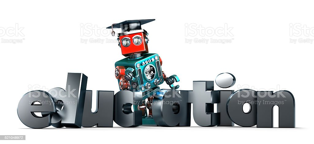Retro robot with EDUCATION sign. Isolated. Contains clipping path stock photo