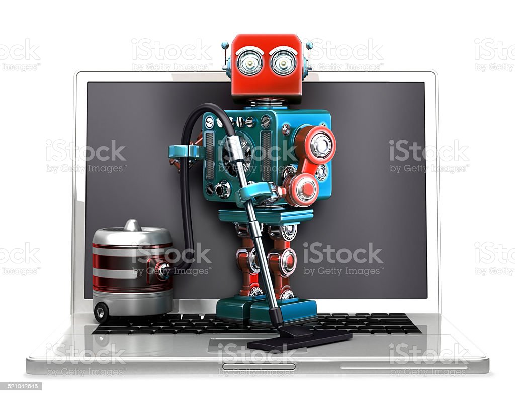 Retro Robot with laptop and vacuum cleaner. Isolated. Clipping path royalty-free stock photo