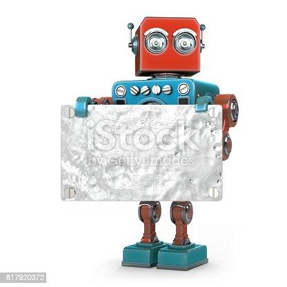 521048154 istock photo Retro robot with metallic blank board. Isolated. 817920372