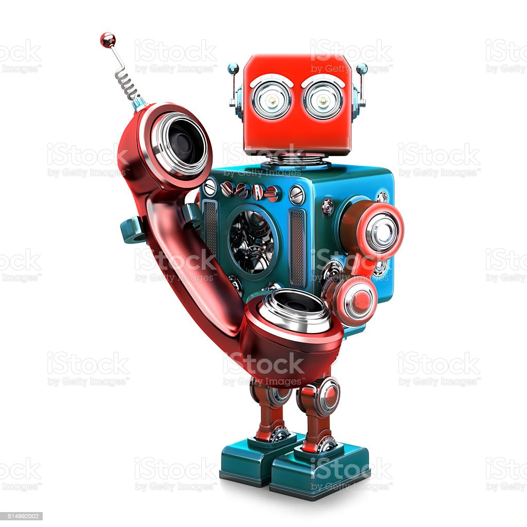 Retro robot with phone tube. Isolated. Contains clipping path Retro robot with phone tube. Isolated over white. Contains clipping path Adult Stock Photo