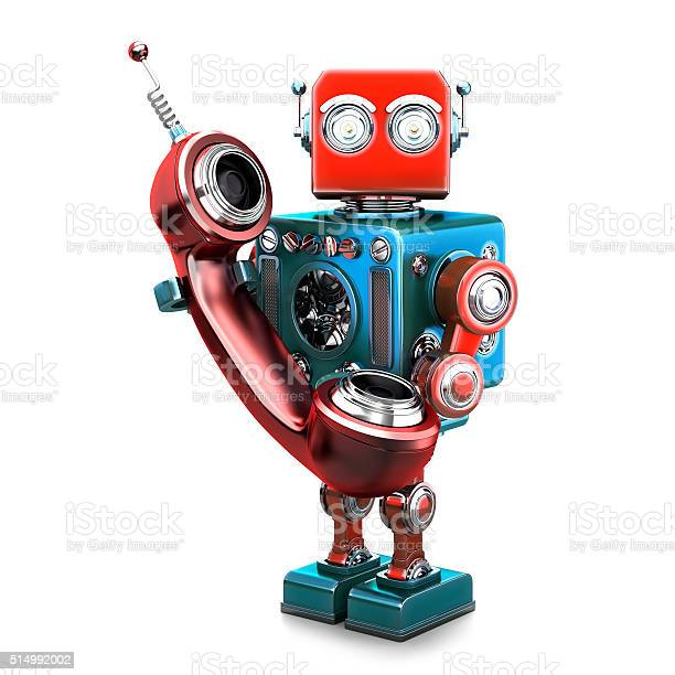 Retro Robot With Phone Tube Isolated Contains Clipping Path Stock Photo - Download Image Now
