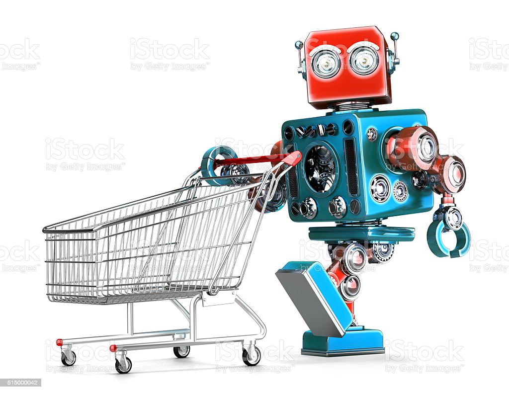 Retro robot with shopping cart. Isolated. Contains clipping path Retro robot with shopping cart. Isolated over white. Contains clipping path Adult Stock Photo