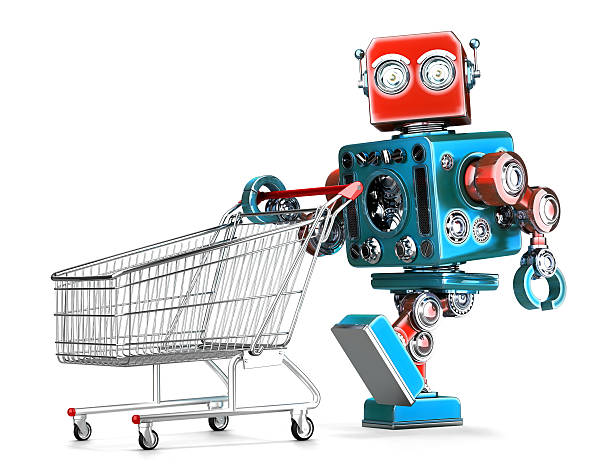 Retro robot with shopping cart. Isolated. Contains clipping path stock photo