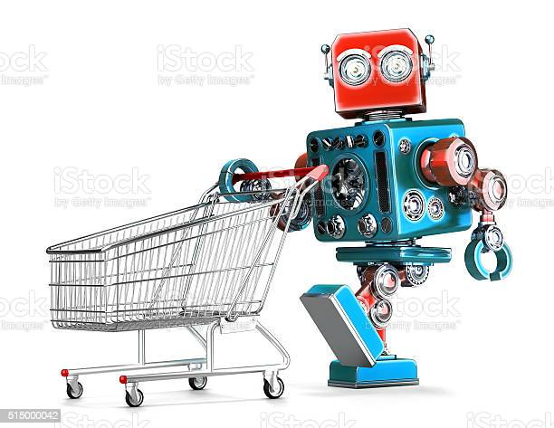 Retro Robot With Shopping Cart Isolated Contains Clipping Path Stock Photo - Download Image Now