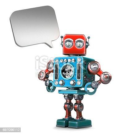 521048154 istock photo Retro Robot with speech bubble 697096112