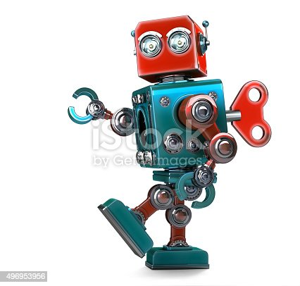 istock Retro Robot wound up with key. Isolated with clipping path 496953956
