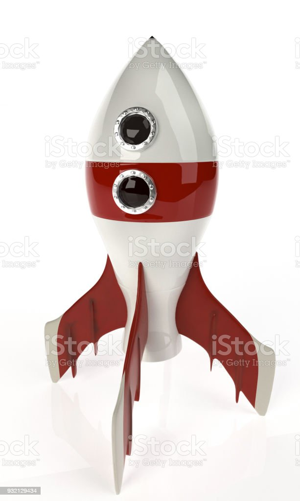 retro rocket space ship isolated on white. 3D rendering. stock photo