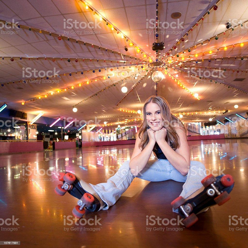 Retro Roller Skating. stock photo