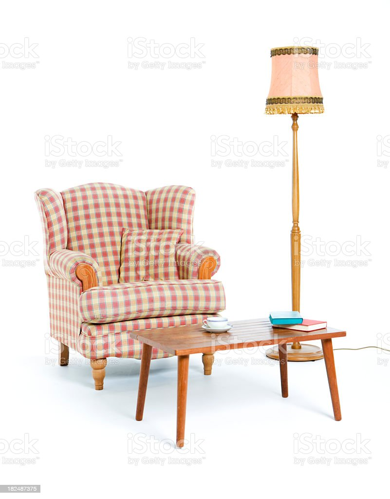 Retro room set with chair, table, and lamp stock photo