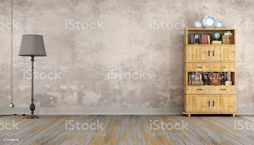 Retro room with bookcase stock photo