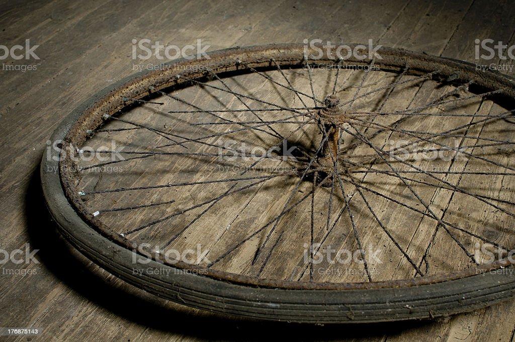 retro rusty bike wheel royalty-free stock photo