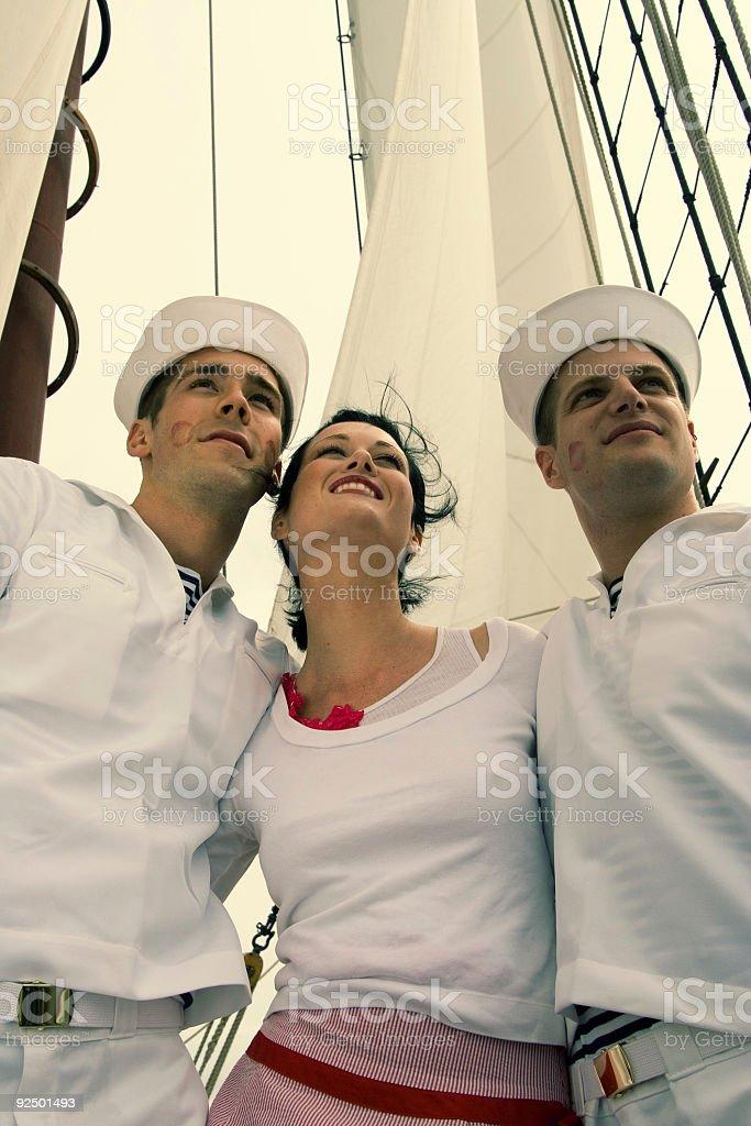 Retro sailors on the high seas royalty-free stock photo