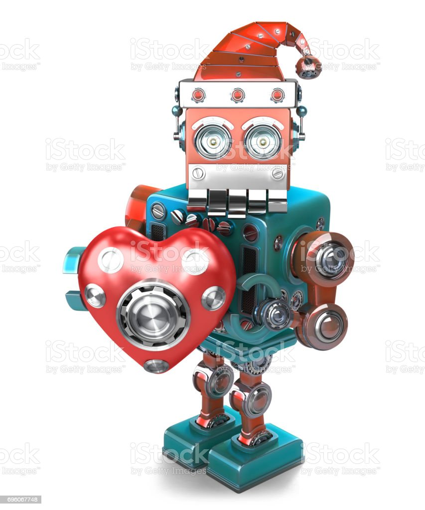 Retro Santa Robot with mechanical heart. Isolated. Contains clipping path stock photo