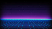 istock Retro Sci-Fi Background Futuristic landscape of the 80`s. Digital Cyber Surface. Suitable for design in the style of the 1980`s 1136761682