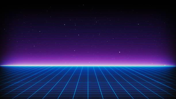 復古科幻背景80年代的未來主義景觀. 數位網路表面。適用于20世紀80年代風格的設計 - 復古風格 個照片及圖片檔