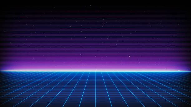 retro sci-fi background futuristic landscape of the 80`s. digital cyber surface. suitable for design in the style of the 1980`s - futuristic stock pictures, royalty-free photos & images