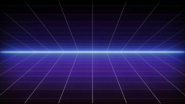rétro sci-fi fond paysage futuriste des années 80. digital cyber surface. convient pour le design dans le style des années 1980 - élément graphique photos et images de collection