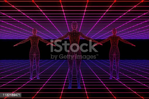 453101991 istock photo Retro Sci-Fi Futuristic Landscape with Cyborg and Neon Lights Abstract Background 1132189471