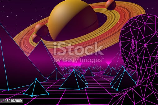 453101991 istock photo Retro Sci-Fi Futuristic Landscape with Cyborg and Neon Lights Abstract Background 1132192969