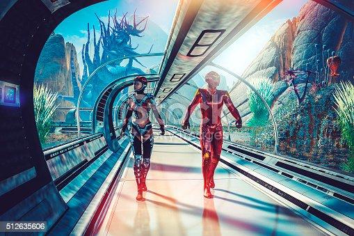Retro sci-fi of futuristic planetary terraforming.