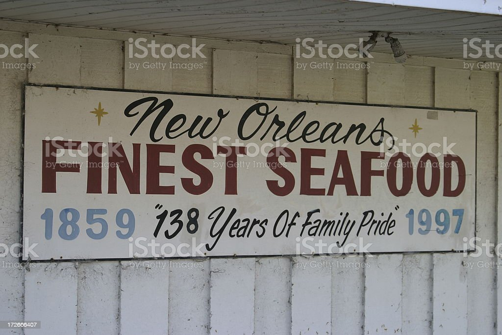 Retro Seafood Market Sign royalty-free stock photo