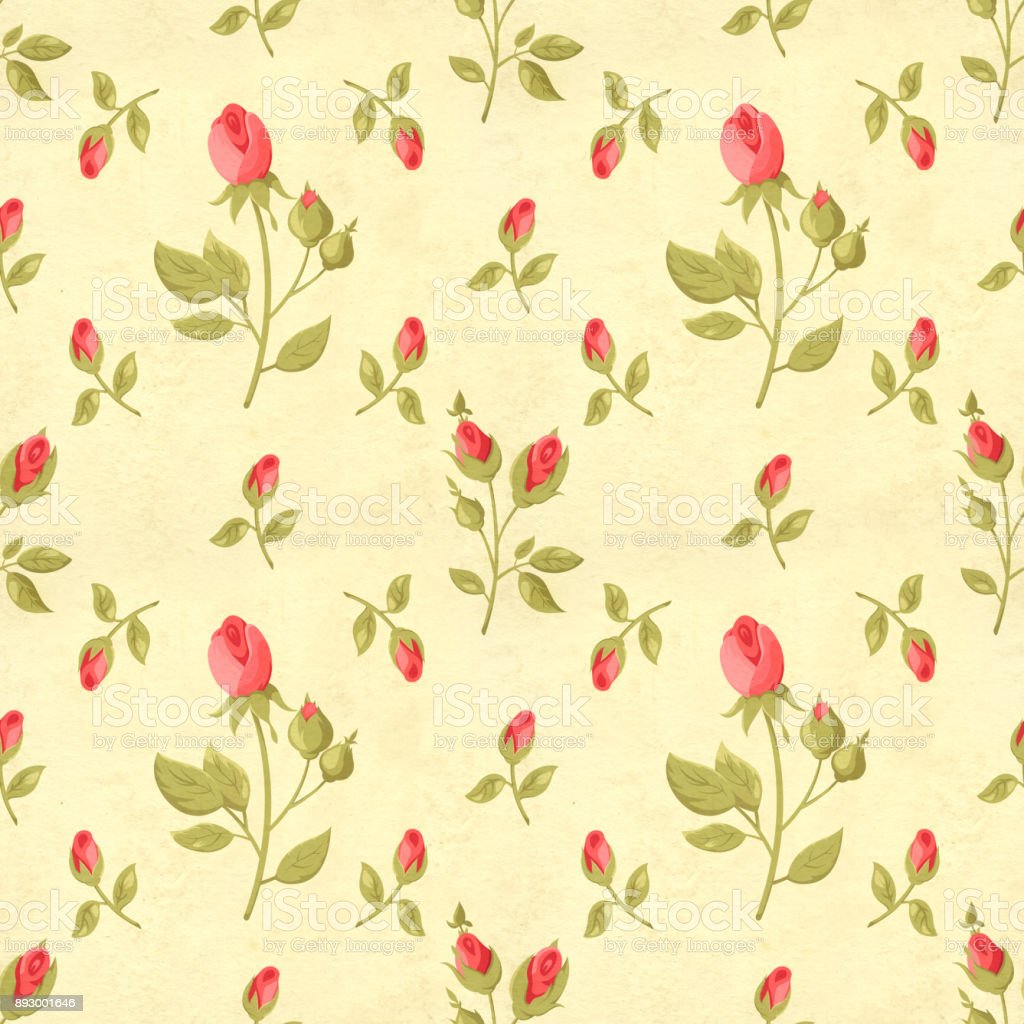 Retro Seamless Pattern In Shabby Chic Style Stock Photo & More ...