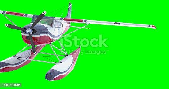 Retro seaplane. 3D render. Against the sky