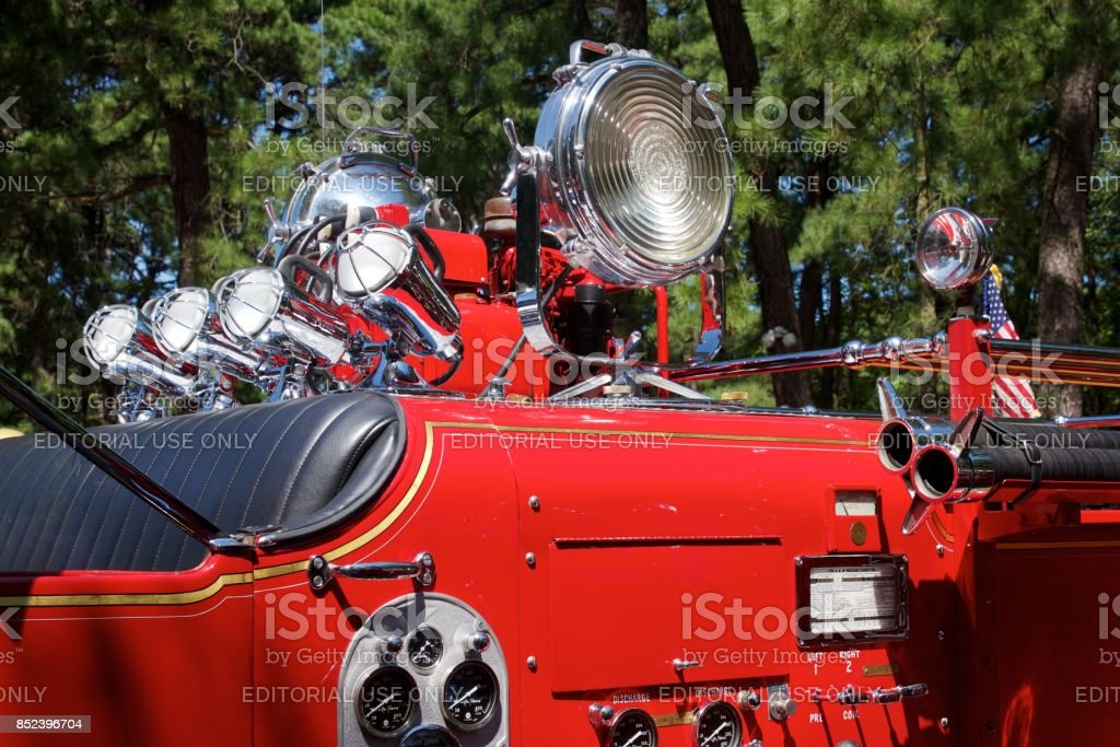Retro search lights atop a 1948 Ward LaFrance fire engine stock photo