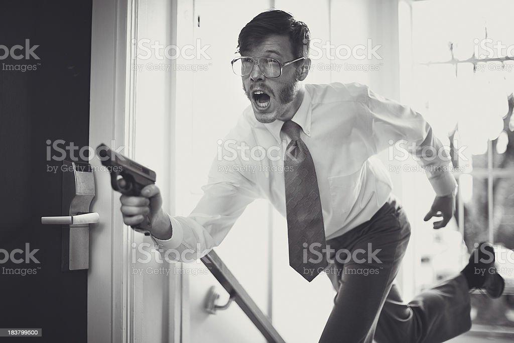 Retro Secret Agent Running With Pistol stock photo