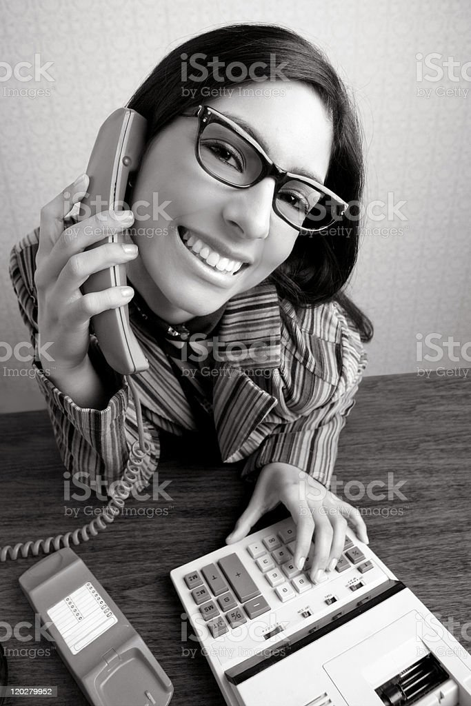 Retro secretary wide angle humor telephone woman royalty-free stock photo