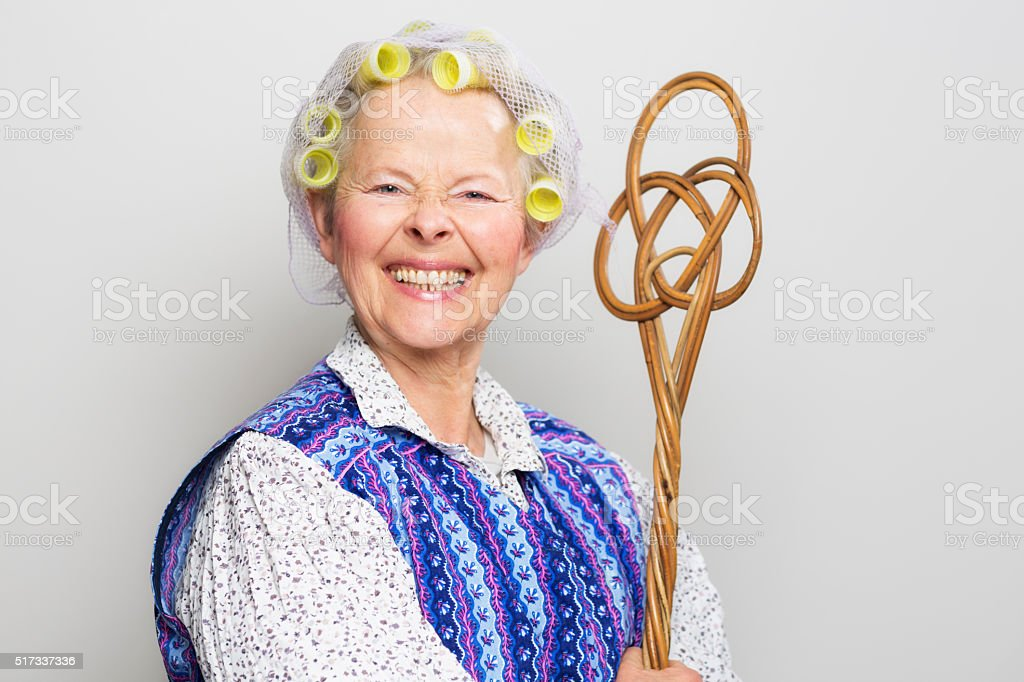 retro senior housewife stock photo