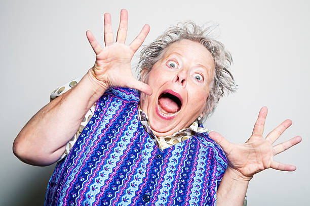 retro senior housewife surprised - funny fat lady stock photos and pictures