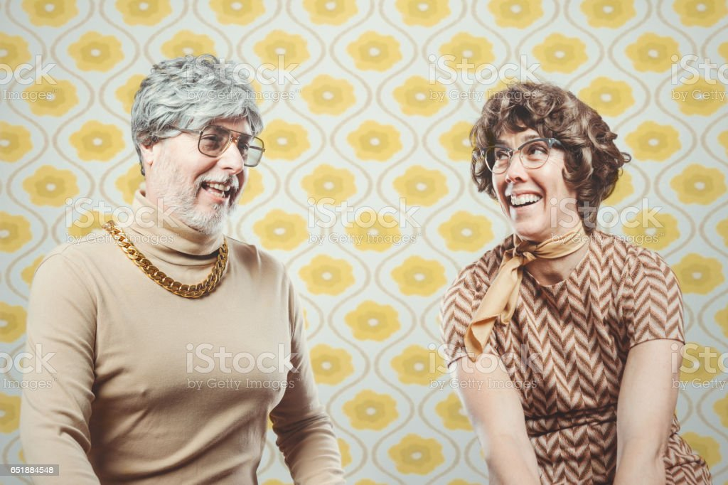 Retro Seventies Style Couple stock photo
