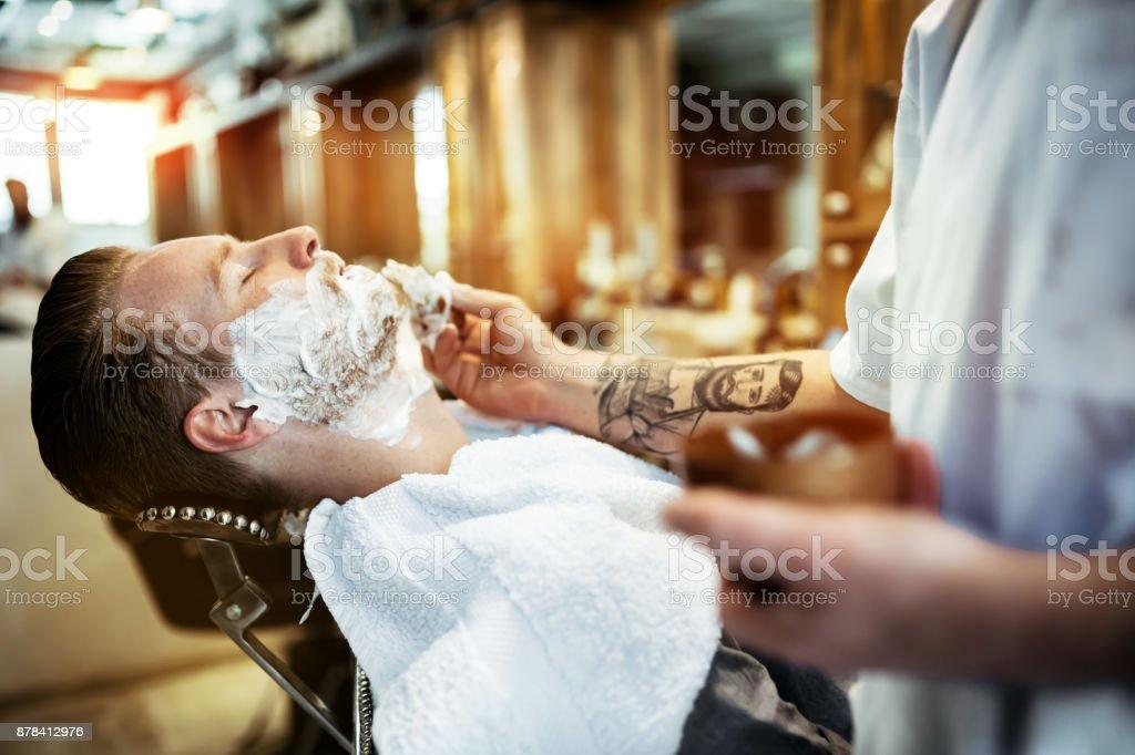Retro shaving with foam stock photo