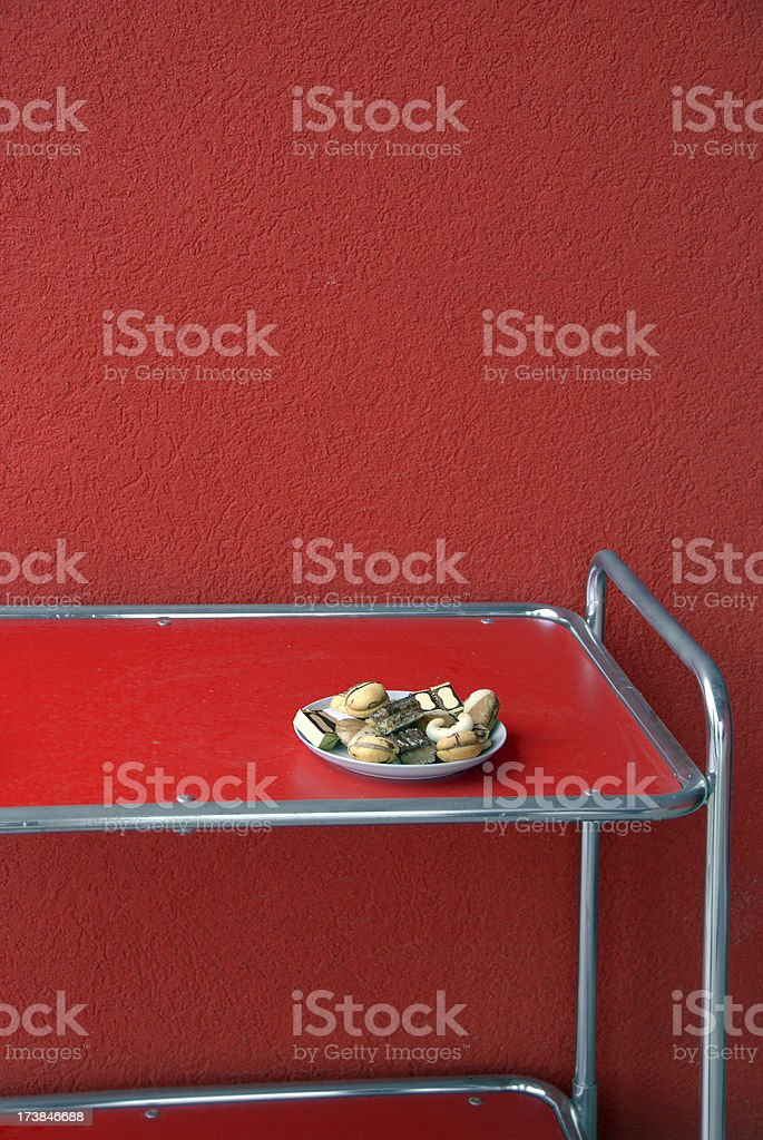 retro side table and biscuits royalty-free stock photo