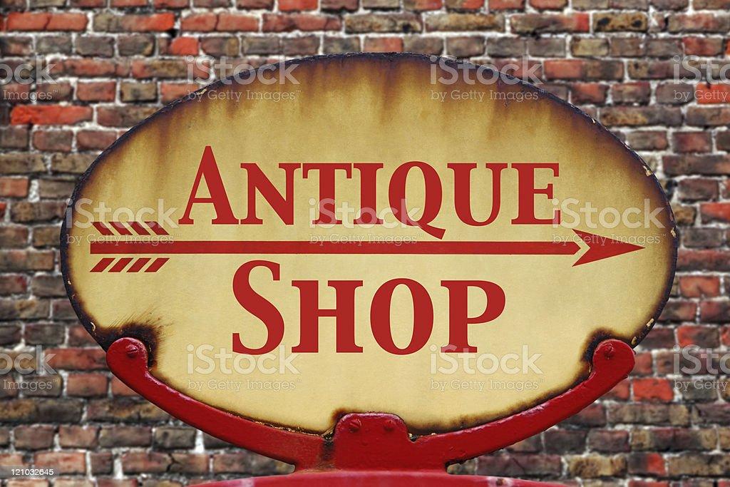 Retro sign Antique shop stock photo