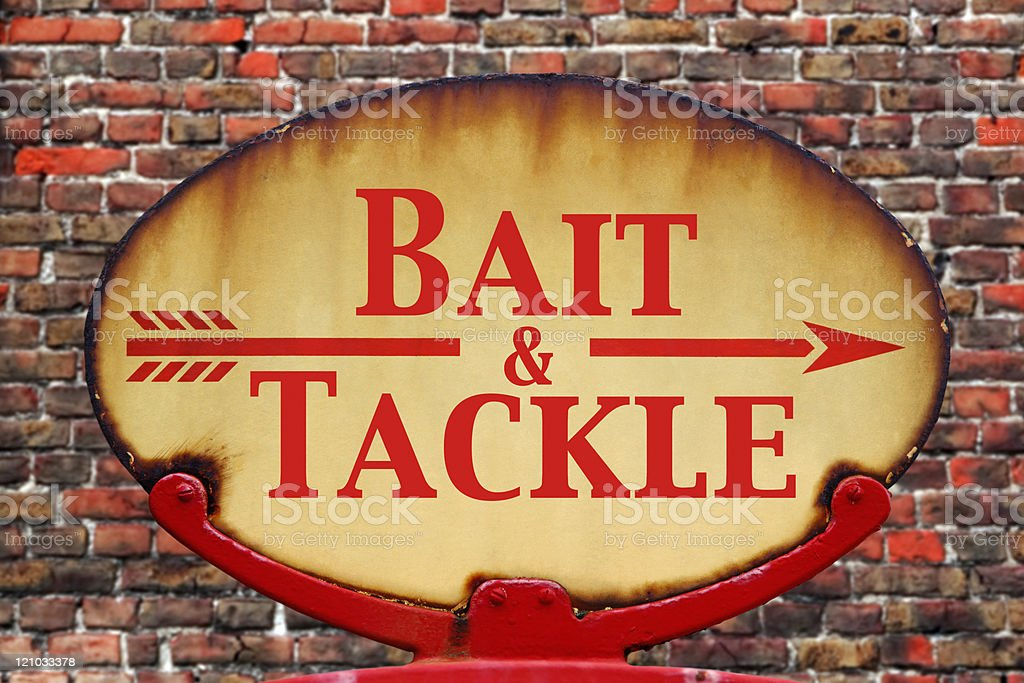 Retro sign Bait and tackle stock photo