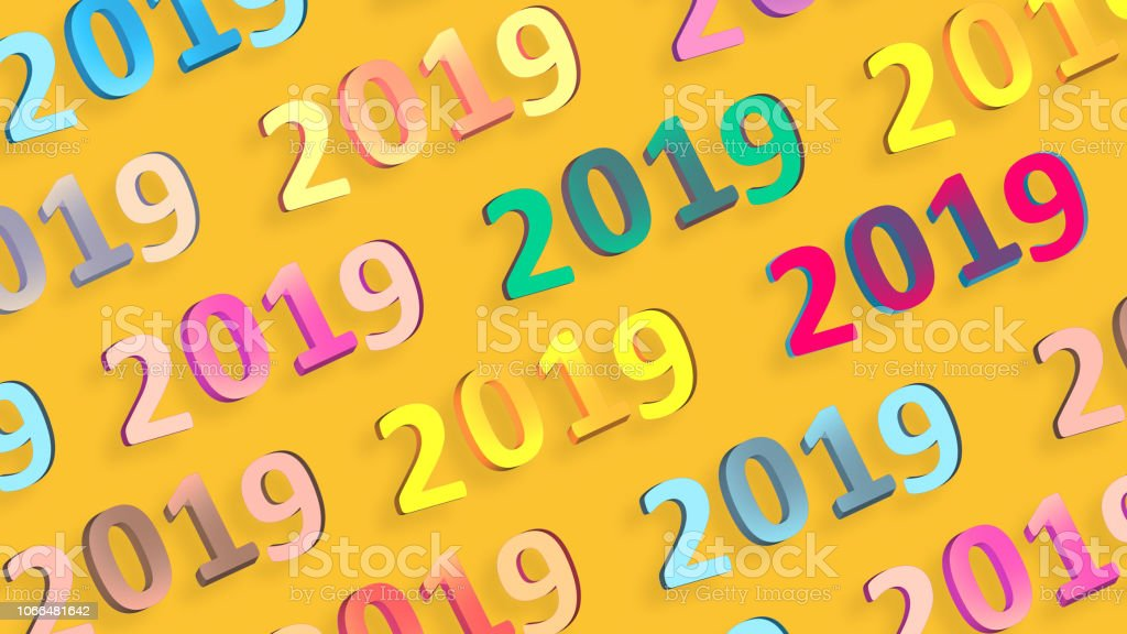 2019 Retro Signs Wallpaper New Year Background 2019 Numbers