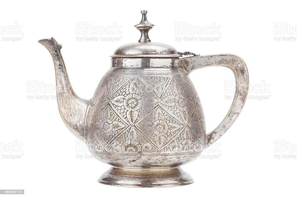 retro silver teapot, jug isolated on white royalty-free stock photo
