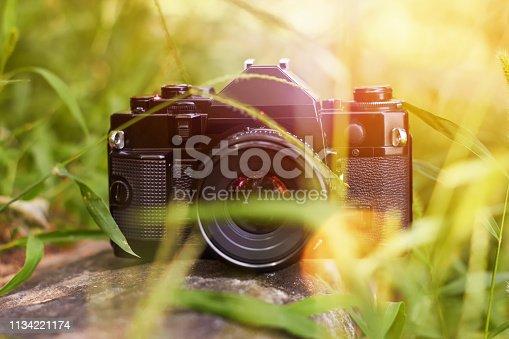 Retro single-lens reflex professional film camera outdoors in the grass