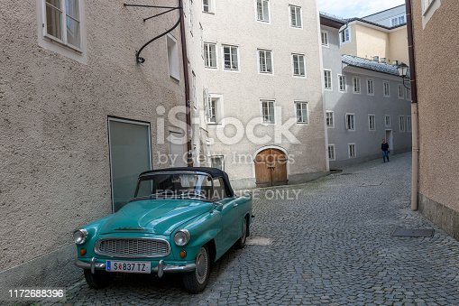 Salzburg, Austria - 21 June 2019: Old coupe Skoda Felicia car turquoise color at city street. Vintage classic cabriolet from 1959-1964