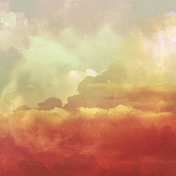 retro sky and clouds background. - parşömen tekstil stok fotoğraflar ve resimler