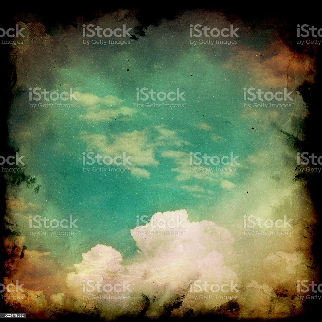 Retro sky and clouds background. stock photo