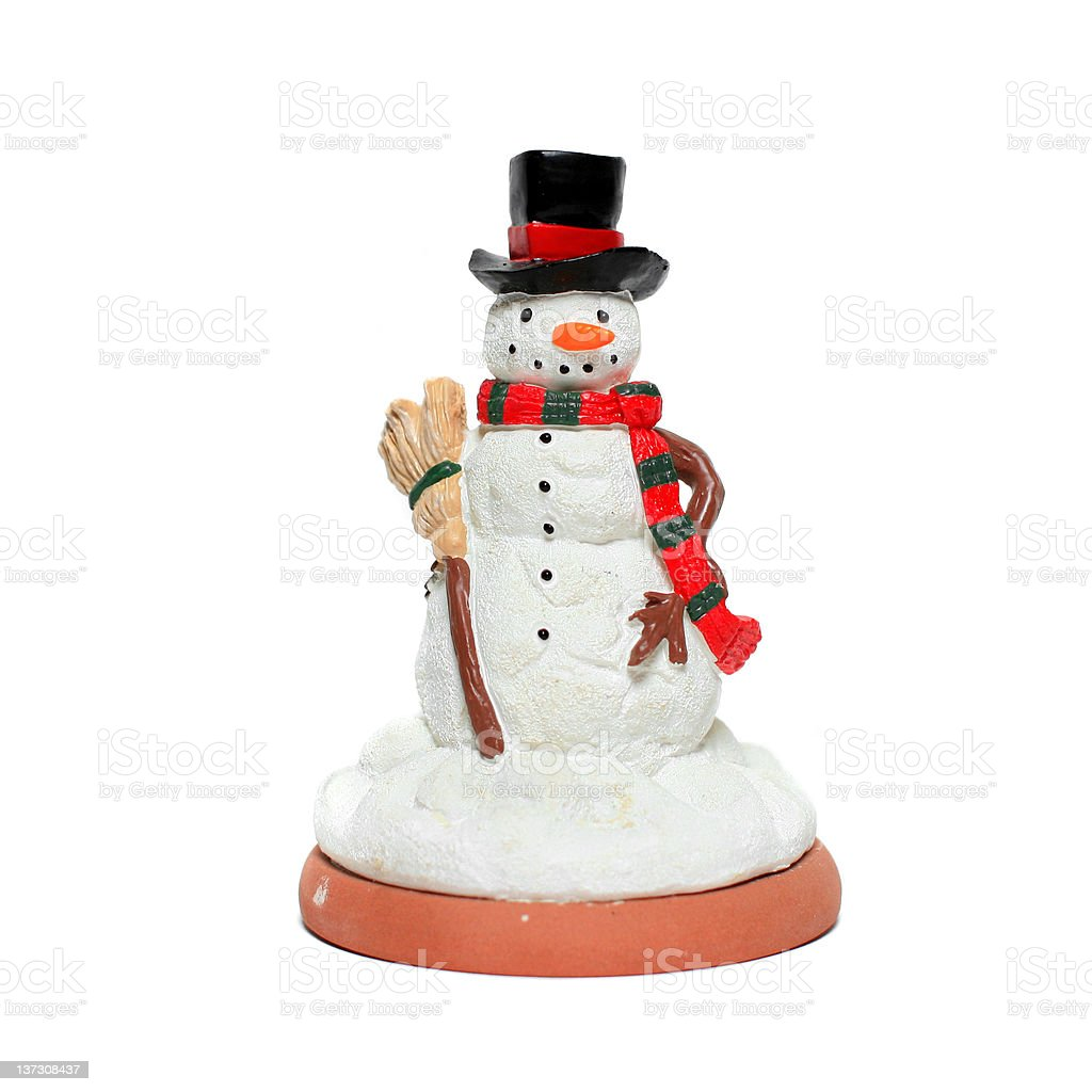 Retro Snowman Figurine With Top Hat Scarf And Broom Stock Photo More Pictures Of Antique Istock