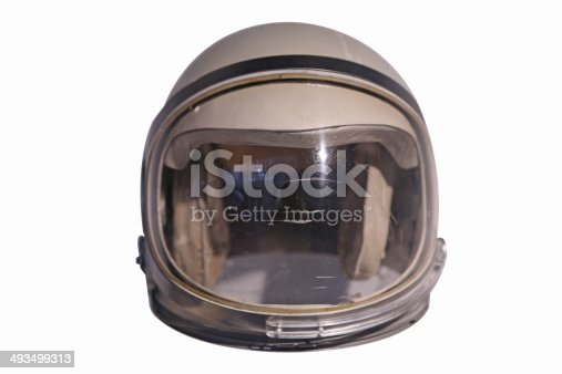 Early space helmet isolated on white