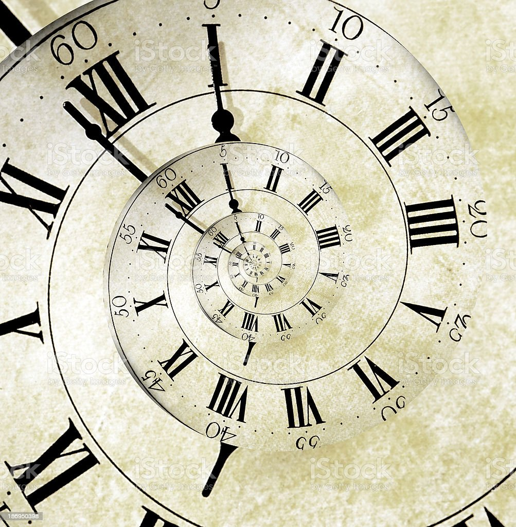 Retro Spiral Clock Face royalty-free stock photo