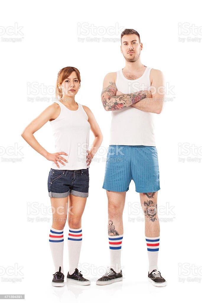 Retro Sport Couple stock photo