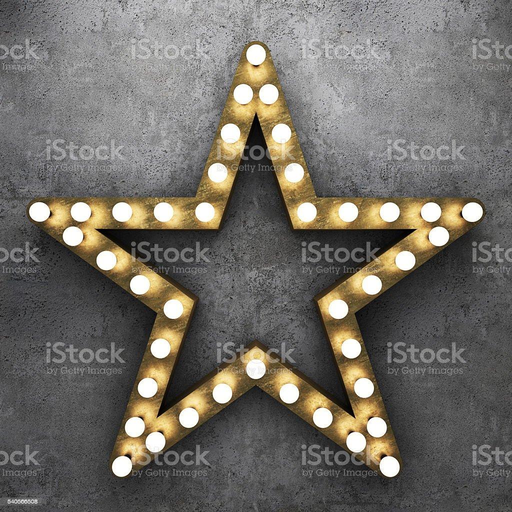 Retro star with light bulbs stock photo