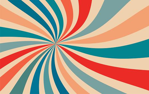 retro starburst sunburst background pattern and vintage color palette of orange red beige peach and blue in spiral or swirled radial striped design